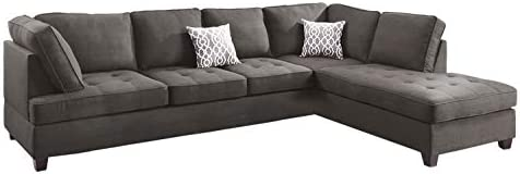 Poundex Bobkona Kemen Linen-Like Polyfabric Left or Right Chaise 3Piece SECTIONAL with Ottoman Set in Ash Grey