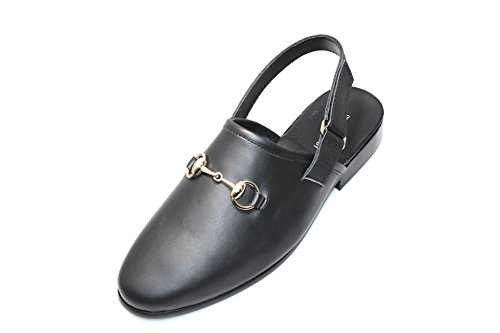 Smythe En Digby Heren Zwart Lederen Horse-bit Sandalen