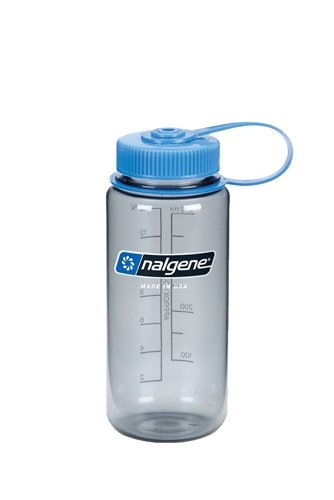 NALGENE Tritan 1-Pint Wide Mouth BPA-Free Water Bottle,16 oz,Gray/Blue Lid