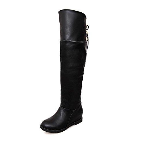 AmoonyFashion Inside 7 Solid Toe Plush Boots Closed US with B Round PU Womens 5 Heels M Short Heighten Kitten Black fxFrfq
