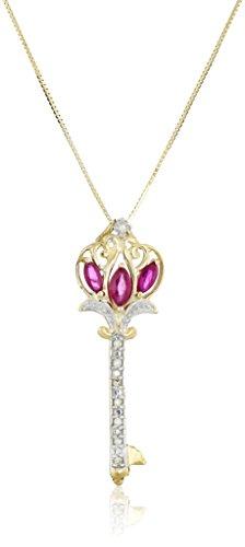 10k Yellow Gold Ruby and Diamond Royal Key Pendant Necklace, (10k Ruby Necklace)