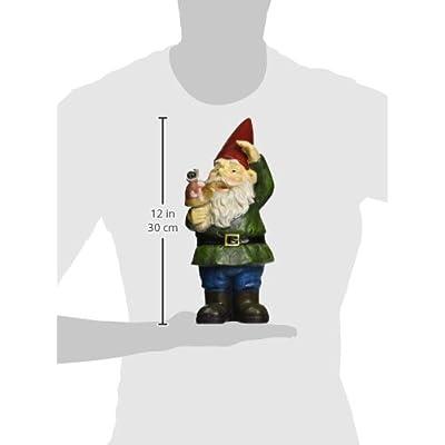 Garden Gnome Holding Mushroom : Outdoor Statues : Garden & Outdoor