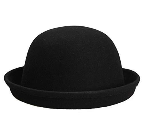 Fedora Hats for Men Women Unisex Classic Vintage Upturn Brim Wool Felt Jazz Cap Panama Hat Black ()