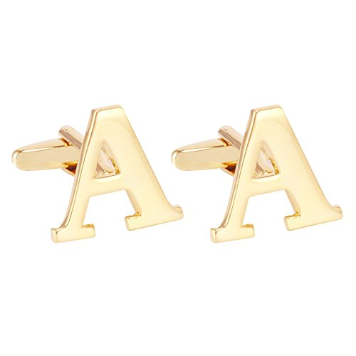Salutto Men's Gold Letter A Cufflinks 1 Pair with Gift Box -