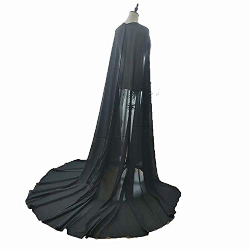 Alicebridal Women's 3M Chiffon Wedding Long Cape Cathedral Length Bridal Cloak Bride Cape Black Bridal Gown Cathedral Train