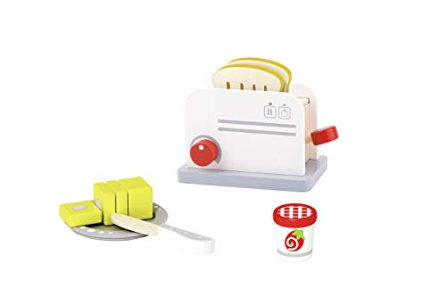 TOYSTER'S Wooden Toaster Toy Playset | Pretend Play Toddler Kitchen Play Food Toys | 7-Piece Wood Kitchen Appliance Play Set for Boys and Girls | Suitable for Children Ages 3 and Up (Toaster Pretend Play)