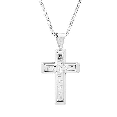 Greek Key Design Cross - My Bible Greek Key Design Cross Pendant on 24