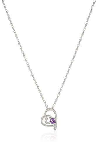 Heart Shaped Amethyst Necklace - Girl's Sterling Silver and Amethyst Children's Pendant Necklace, 14