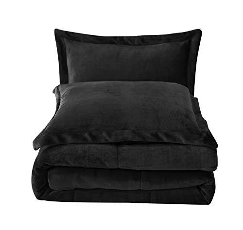 Chezmoi Collection FS200 3-Piece Micromink Sherpa Reversible Down Alternative Comforter