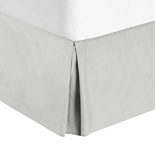 "Nestl Bedding Pleated Bed Skirt - Luxury Microfiber Dust Ruffle, 14"" Tailored Drop, King, Silver ()"