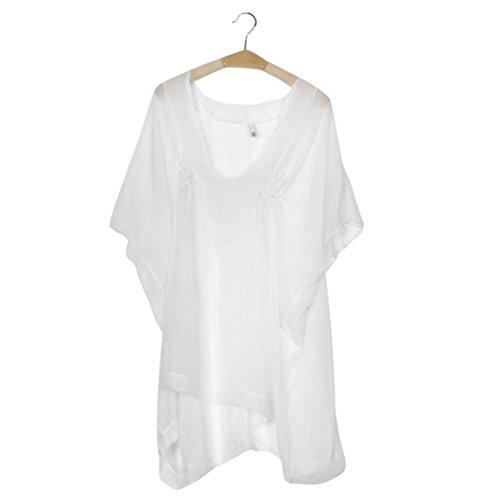 19ac56486c2f ... ZEZKT♪Chiffon Cover Up Transparent Bikini Tunika Bluse Spitze Lang  Strandkleid Damen Push Up Strandponcho ...