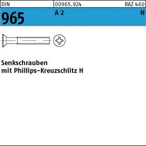 1000 Edelstahl V2A Kreuzschlitz Senkschrauben DIN 965 A2 H M2,5x10