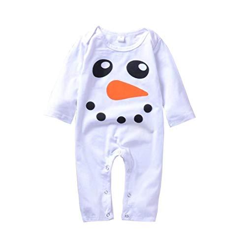Newborn Baby Boys Girls Jumpsuit,Long Sleeves Snowman Print Romper (0-6 Months, White) for $<!--$3.21-->