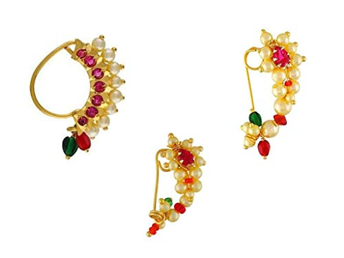 GirlZ! Traditional Maharashtrian (Non Pierced) Nath Nose Ring Pink Colour Stone Along with Pearl Beads for Women – Small Size