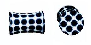 Oreille-clous, numériques carrés en bleu et blanche; 9mm