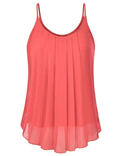(EIMIN Women's Pleated Chiffon Layered Sleeveless Cami Tank Tunic Top Coral 2XL)