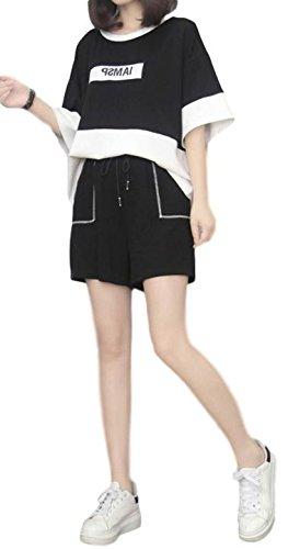 ステンレススキップ応援するレディース セットスーツ ワイドレッグパンツ Tシャツ ショートパンツ カジュアル ガーリー ボーイッシュ カレッジ 脚長効果