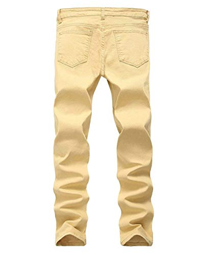 Saoye In Kaki Aderenti Elasticizzati Pantaloni Skinny Destroy Uomo Da Jeans Strappati Stretch Knee Giovane Casual Vintage Denim Cher The Pants Fashion Slim Holes 0Bqr0