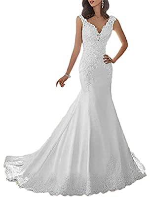 LINDO NOIVA Women's Mermaid Wedding Dresses for Bride 2019 Long Lace Open Back Bridal Gowns LN150