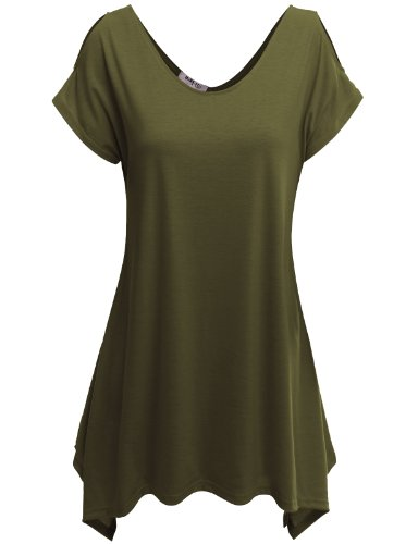 Doublju Women Comfortable Unbalanced Hemline Cap Sleeve Plus Size T-Shirts KHAKI,XL