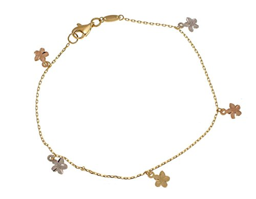 Plumeria Clasp Bracelet - 14k solid yellow white rose gold Hawaiian plumeria flower lobster clasp bracelet 7