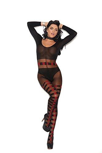 Elegant Moments Sheer & Opaque Bodystocking w/Horizontal Stripes - One Size