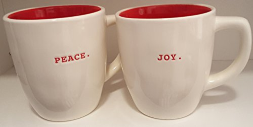 Ceramic Joy (Rae Dunn PEACE. and JOY. White Ceramic Mugs Red Inside)