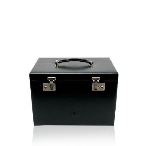 Windrose Merino Schmuck-/ Uhrenkoffer mit integrierter Schmucktasche 33 cm, schwarz