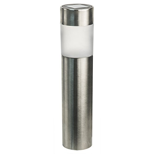Paradise by Sterno Home Stainless Steel Solar LED Bollard Kit with Amorphous Solar Panel & Rechargeable Batteries