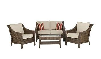 Awesome Amazon Com Rolston 4 Piece Wicker Patio Converstaion Set Creativecarmelina Interior Chair Design Creativecarmelinacom