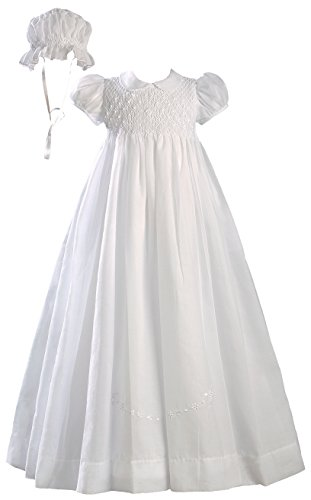 "White 32"" Hand Smocked Cotton Batiste Christening Baptism Gown"