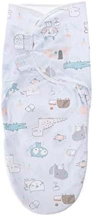 BATTILO HOME Adjustable Original Swaddle Blanket Soft Cotton Infant Baby Wrap (Blue Alligator, 4-8 Months)