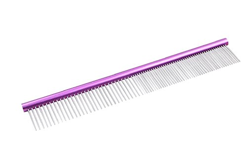Extra Long Pet Combs,Cat Combs, Dog Grooming Combs, Stainless Steel Shedding Comb Brush Fine Coarse Pins Rounded Teeth Trimmer , Horse Grooming tools 9.8 Inch (Violet) by LHome