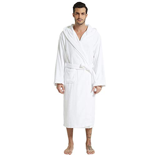 Mens Hooded Terry Cloth Bathrobe Cotton Kimono Spa Robe Solid Color with Pockets (Hooded White,Medium)