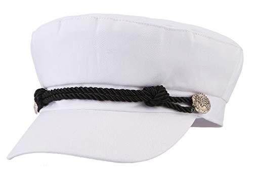Brcus Women Yacht Captain Sailor Hat Newsboy Cabbie Baker Boy Peaked Beret Cap White