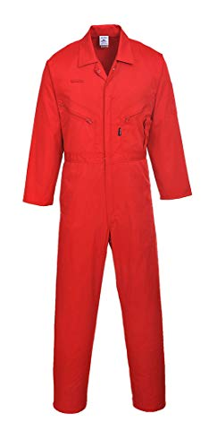 Red Coverall - Portwest Zip Boilersuit Overall Coverall Work Wear Suit Protective Jumpsuit Long, Red, MediumR