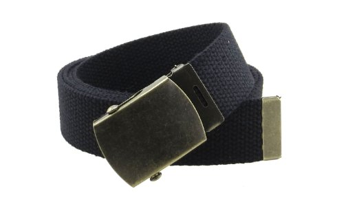 Canvas Web Belt Military Style with Antique Brass Buckle, Black, Size One Size
