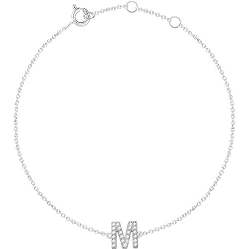 14k White Gold M Polished .07 Dwt Diamond 6-7 Inch Initial Bracelet