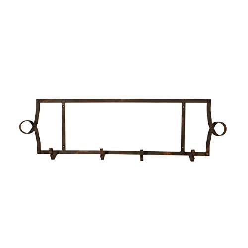 Black Distressed Horizontal Metal wall Mounted Plate Holder, Two Plate (Horizontal Wall Plate Racks)