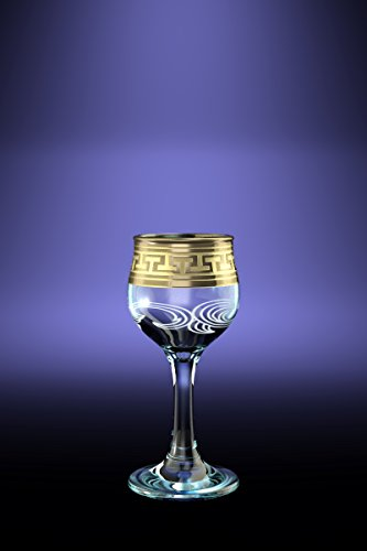 Crystal Goose GX-01-164, 2 Oz Sherry Liquor Glasses with Greek Key Gold-Plated Trim, Old-Fashioned Cordial Liquor Gilded Glasses with Etched Painting, 6-Piece Set