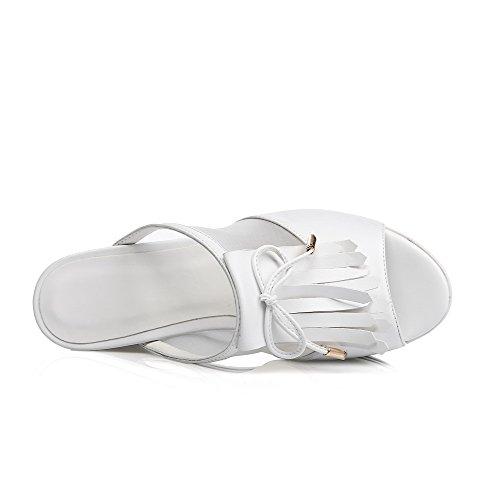 Slippers Agoolar Materiali On Per Open Con Tacchi Miscela Frange Pull Toe Alti Bianco Donna qrq7f