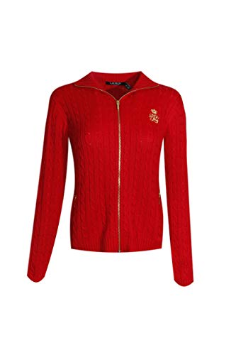 Ralph Lauren Womens Full Zip Cable Knit Crest Sweater (Medium, Lauren Red)