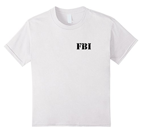 Federal Agent Costume (Kids FBI Agent Funny Halloween Federal Bureau of Investigation 8 White)