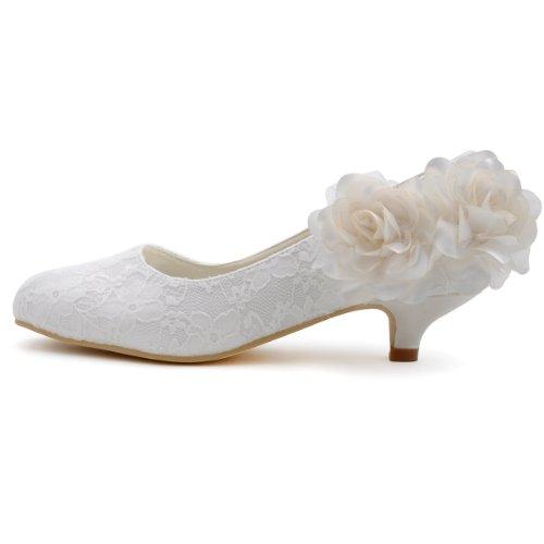 ElegantPark EP2130 Mini tac¨®n Flores Lace Cerrado zapatos de novia mujer blanco talla 43