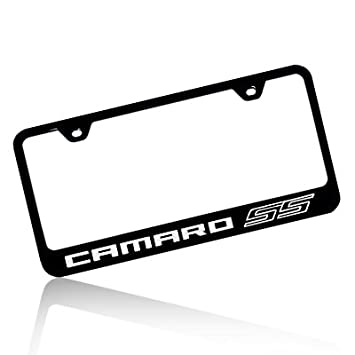 chevrolet camaro ss black steel license plate frame