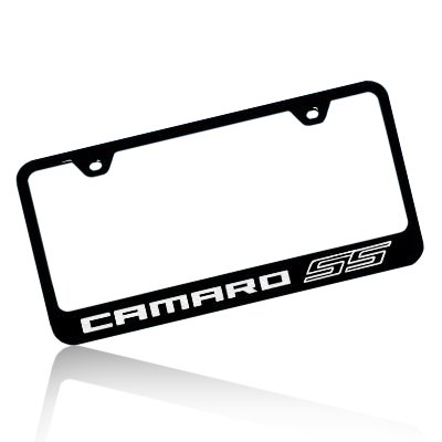 Amazon.com: Chevrolet Camaro SS Black Steel License Plate Frame ...