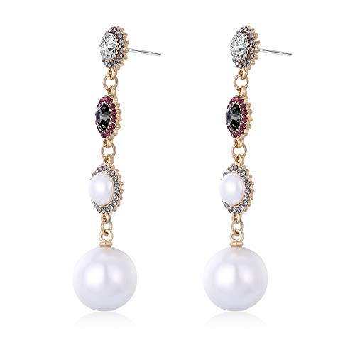 - Cattleya 925 Sterling Silver Fashion Temperament Personalized Baroque Style Diamond Pearls Earrings Girls Women Pierced Earrings Ear Studs Ear Drop Jewelry