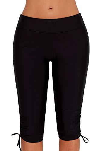 Urchics Womens Plus Size Rash Guard Capris Long Swim Shorts Tankini Bottom Black XL