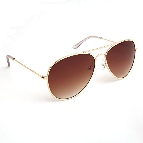 JOOX Classic Metal Aviator Sunglasses Protection Colored Lens (Shiny gold/Brown gradient, - Sunglasses Metal Aviator