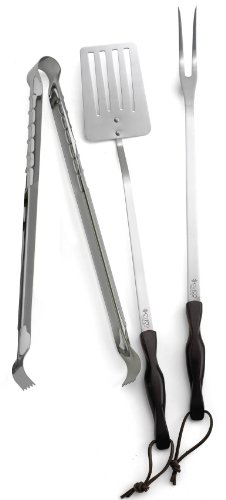 CUTCO Model 1709 Barbecue Set. 16 Tongs. 19.8 Turner and 19.5 Fork have Classic Dark Brown handles often called Black and leather lanyards for hanging…… Still in factory-sealed box